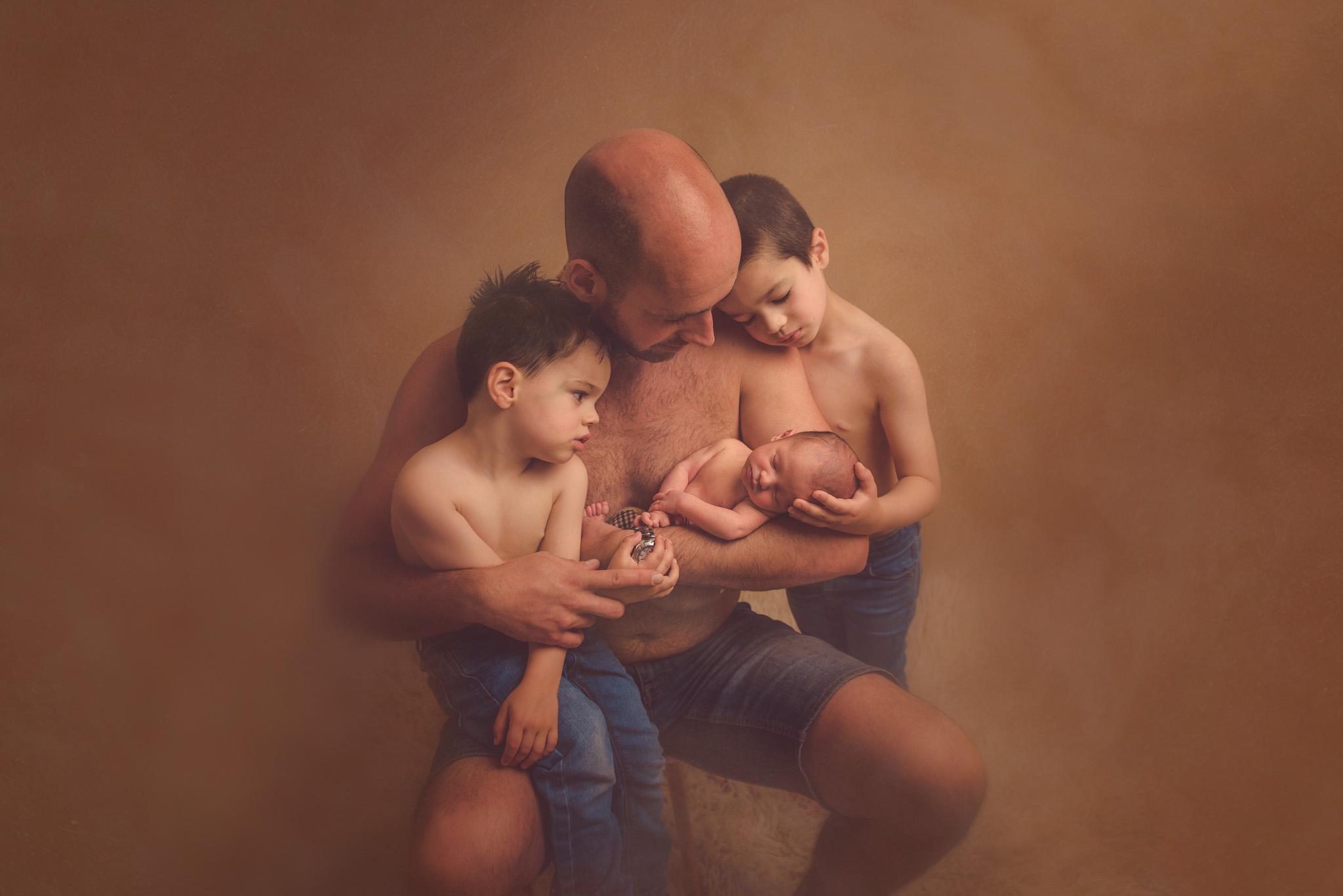 portrait père et enfants sur Tourcoing en studio photo