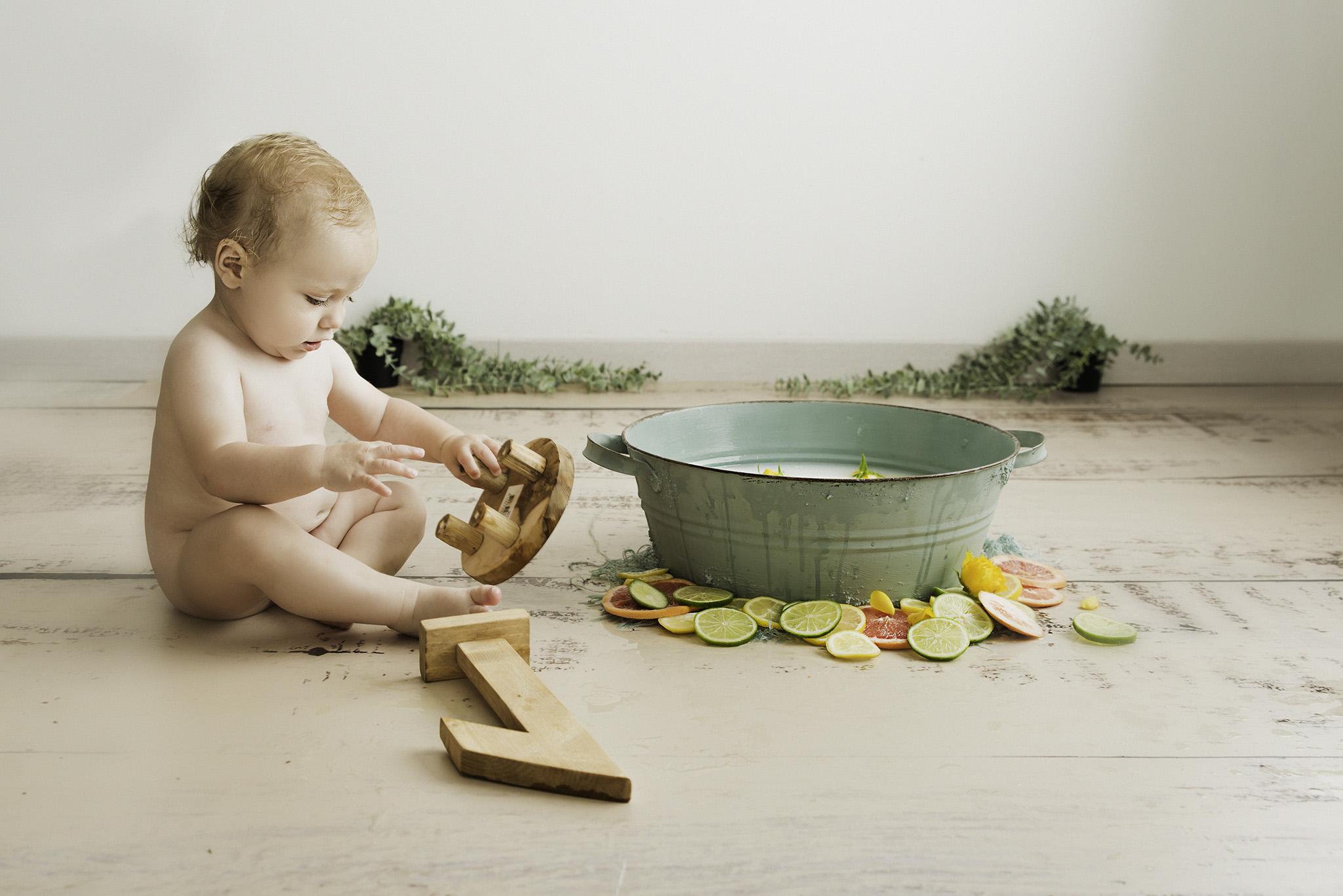 séance 1 an de bébé au studio photo