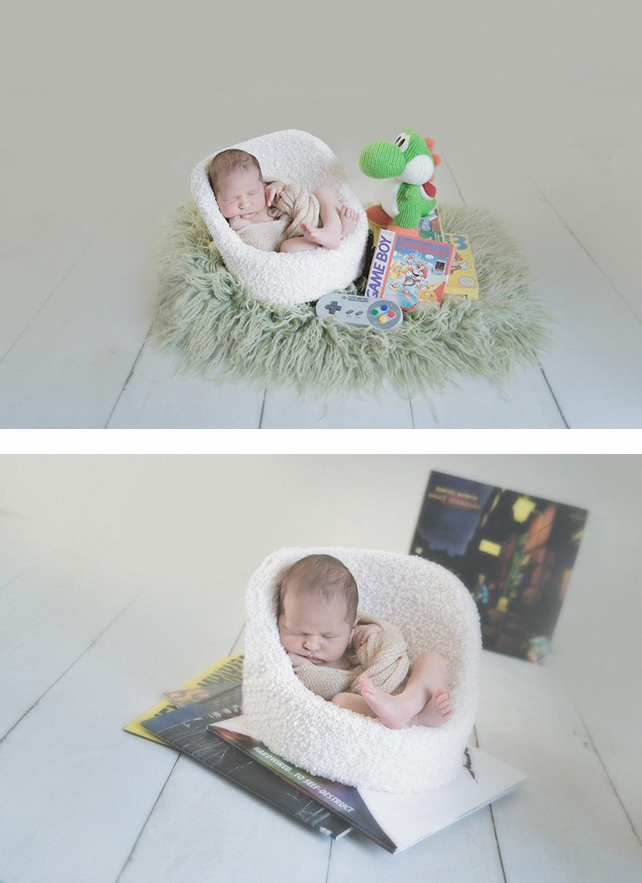 seance photo de naissance en studio geek photographe de nouveau né bébé sur tourcoing nord lille - one moment photographie